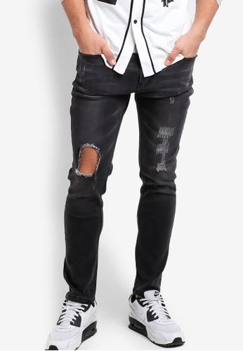 Flesh IMP black Chad Rugged Torn Knee Denim Jeans FL064AA68NYXMY_1