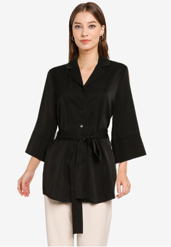 ZALORA WORK black Wide Sleeves Self Tie Tunic 0B337AA442900CGS_1