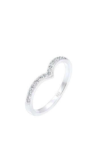 ELLI GERMANY silver Ring V-Shape Ring With Crystal EL474AC0RFHKMY_1