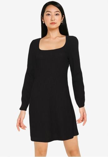 Old Navy black Long Sleeve Knit Mini Dress C7CAAAA35F0F7BGS_1