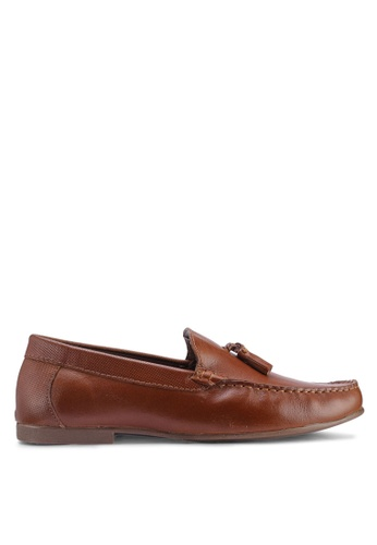 Topman brown Tan Leather Blast Loafers 806CCSH945FB32GS_1