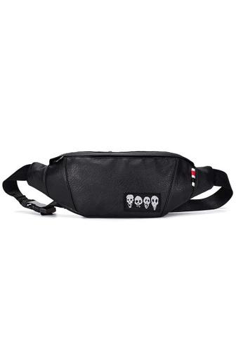Lara black Plain Zipper Printed Belt Bag - Black 10457AC05607A4GS_1