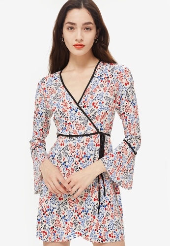 TOPSHOP multi Petite Print Wrap Mini Dress F87E0AAA484778GS_1