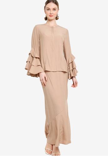 Lubna brown Layered Ruffle Sleeve Kurung 2797EAAB0B8ACDGS_1