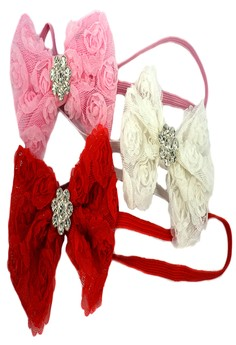Baby Headbands (Rosette Flower with Rhinestone) Pink, White and Red 3pcs/pack 0+ mons