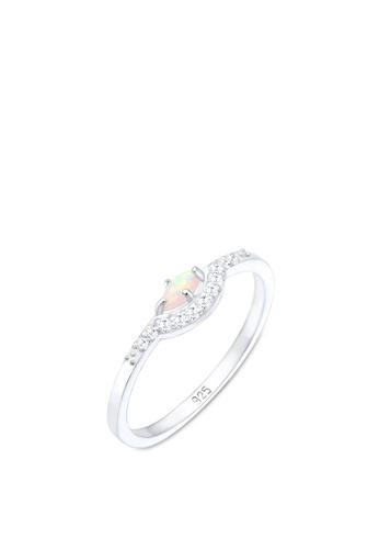 ELLI GERMANY silver Elli Germany Ring Vintage Design Cubic Zirconia Marquise Opal 925 Sterling Silver B62F8AC9741834GS_1