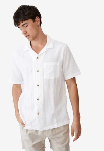 Cotton On white Riviera Short Sleeve Shirt 05C9CAA6D86B09GS_1