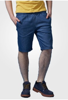 Pinstriped Casual Denim Shorts