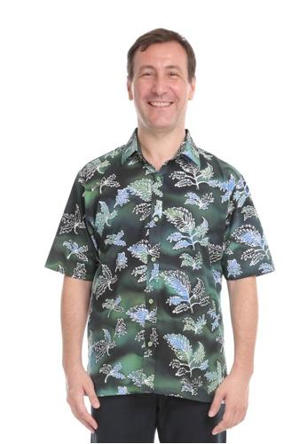 AYAYU black and grey and white and green and blue AYAYU Batik Short Sleeves Men Shirt - DAUN Blue Green CC8A7AA2B20C13GS_1