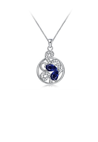 Glamorousky white Fashion and Elegant Cutout Round Pendant with Blue Cubic Zircon and Necklace 122D3ACD41A379GS_1