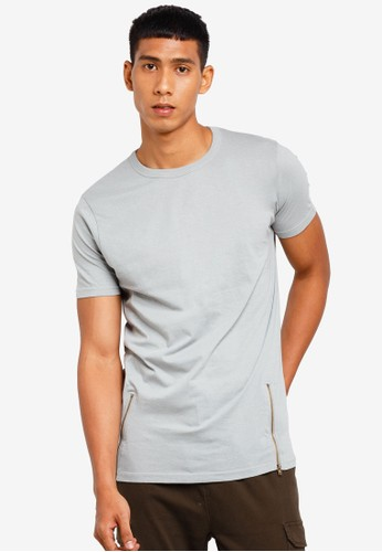 Brave Soul grey Zipper Long Line T-Shirt 0EDEDAA00FBEB2GS_1