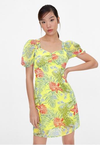 Pomelo yellow Hawaiian Print Tie Back Dress - Yellow 4D10EAA3310EFBGS_1