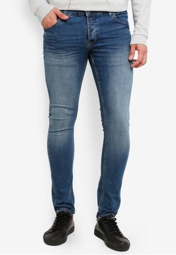 !Solid blue Dexter Stretch Skinny Fit Jeans 6B361AA33426DEGS_1