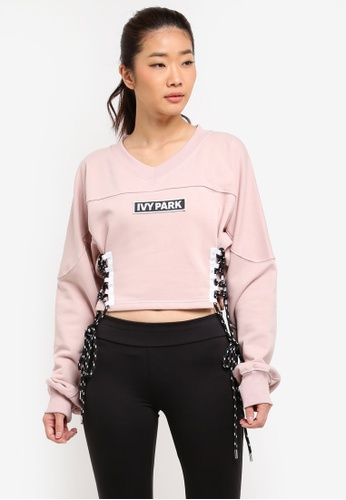 Ivy Park pink Lace Up Side Logo Sweat 56838AA1CD2092GS_1