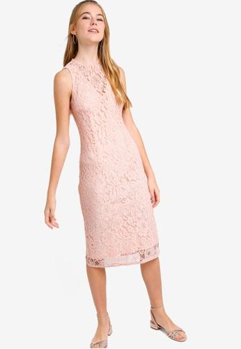 bdf844b05f Something Borrowed pink Lace Yoke Bodycon Midi Dress E6B67AA8370911GS_1