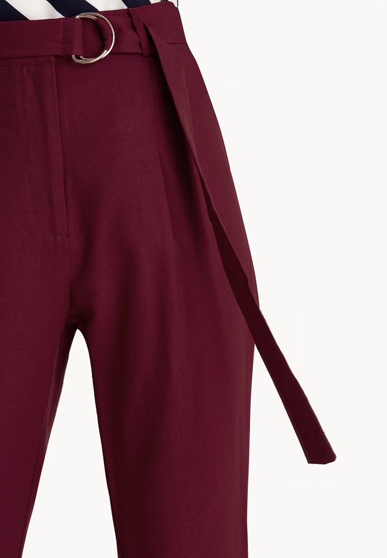 Pants High Red Blood Ox Tapered Waist Pomelo Belted qIdTFWw