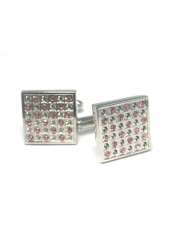Splice Cufflinks silver Silver and Pink Crystal Square Cufflinks   SP744AC65DTESG_1