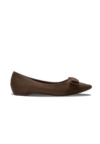 SEMBONIA brown Suede Bow Tie Ballet Flats (Dark Brown) SE598SH0RC0PMY_1