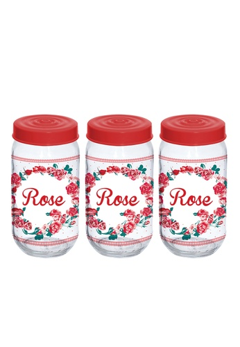 Herevin Herevin 3 Pcs 1000ML Decorated Canister Set / Storage Jar Set / Cookies Container Set - Fiore BD513HLC9F259CGS_1