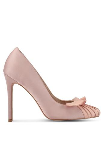 Velvet 粉紅色 綢緞荷葉飾高跟鞋 429D6SH83026E0GS_1