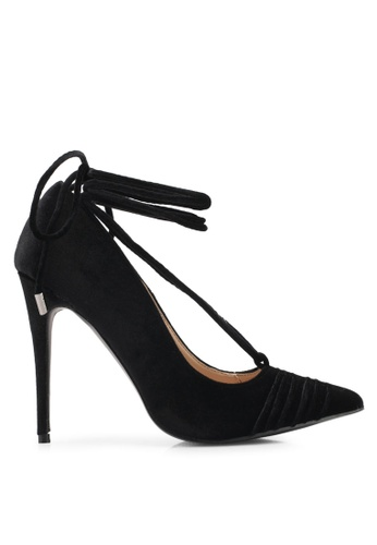 Public Desire black Media Lace Up Ankle Detail Court Shoes PU378SH0SIQ3MY_1