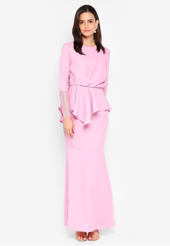 Lubna purple Draped Kurung with Lace Sleeves EA579AAE69F767GS_1