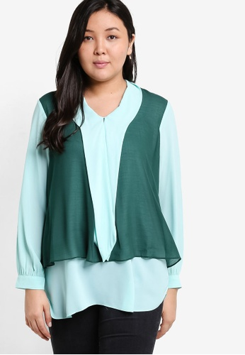 Ex'otico green Plus Size Long Sleeve Double Layer Blouse EX373AA49NZQMY_1