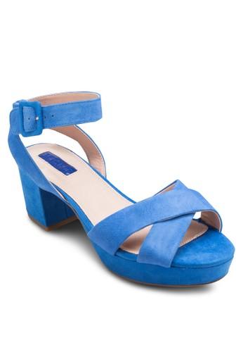 Lulu 交叉厚zalora taiwan 時尚購物網底粗跟鞋, 女鞋, 鞋