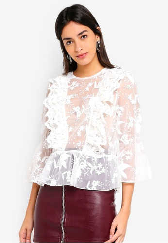 251afd79bc144 Buy TOPSHOP Ruffle Embroidered Blouson Online on ZALORA Singapore