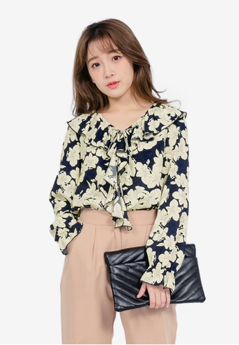 Tokichoi navy Floral Top with Ruffle Lapel 4B574AA475E929GS_1