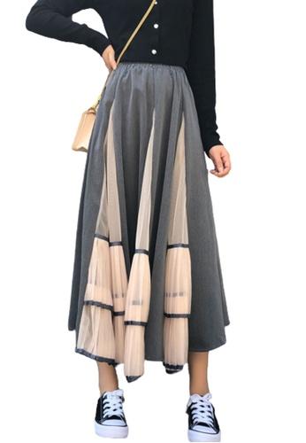 Halo grey Panel Colour Block Skirt 97B3BAAAD83DEFGS_1