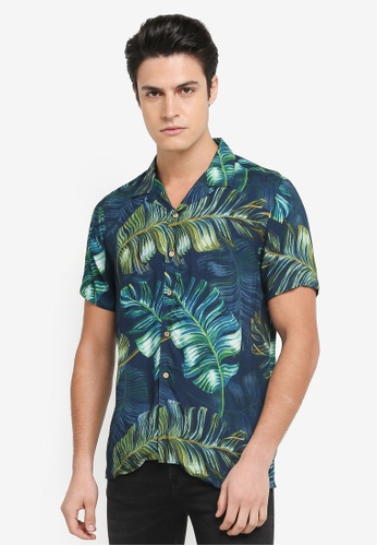 Topman green Short Sleeve Leaf Print Shirt DDFB4AA94B3727GS_1