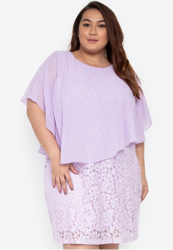 93d21e739ddf Shop Divina Plus Size Overlay Dress With Lace Online on ZALORA Philippines