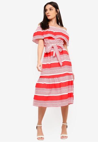 ZALORA white and red Off Shoulder Midi Dress 61976AA8759866GS_1