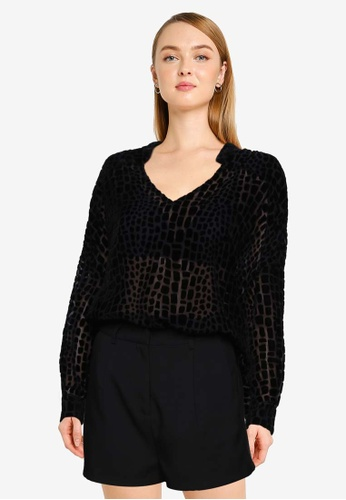 French Connection black Ilka Devore Pop Over Shirt D6C88AA5564F30GS_1
