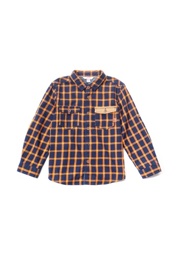 PONEY orange Poney Toddler Antonio Checkered Detailed Pocket Long Sleeve Shirt ECD65KA8CFFDF5GS_1