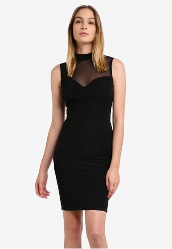 Lipsy black Black Mesh Dress LI571AA0RSR9MY_1