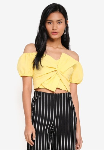 Miss Selfridge yellow Yellow Twist Font Bardot Top CED65AA1A3D06BGS_1