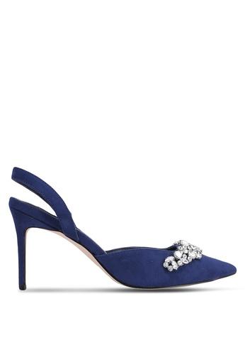 ZALORA 海軍藍色 Embellished 低跟鞋 B44CBZZ73DC68FGS_1