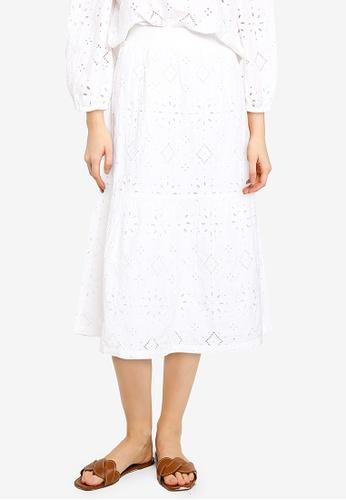 GAP white Eyelet Midi Skirt 646FCAAA4E170EGS_1