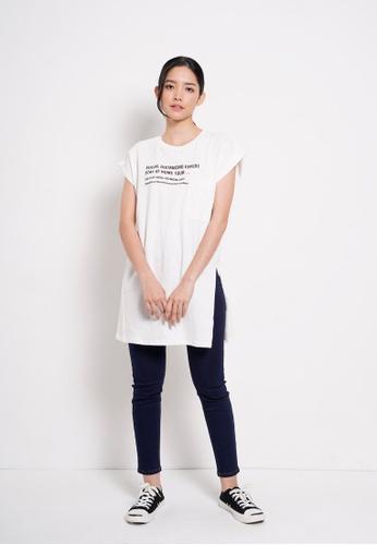 Fave white Women T-Shirt Dress Sleeveless C17F3AA0C726E3GS_1