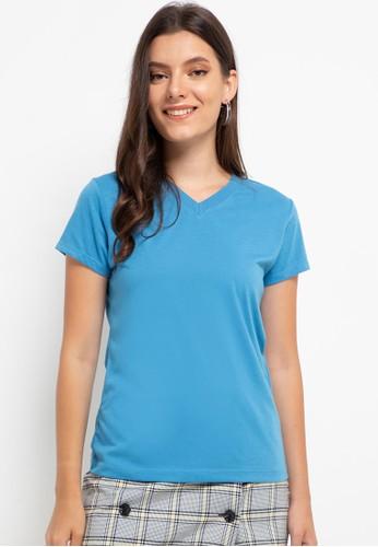 Tolliver blue V Neck Basic Short Sleeve Tee 90369AA8EB3B81GS_1