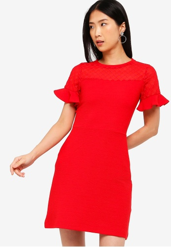 9d8db6a2721 French Connection red Roesia Texture Jersey Fit N Flare Dress  E4563AA6C2FECBGS 1