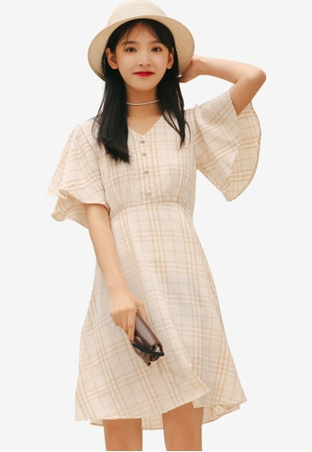 Shopsfashion yellow Checked Fit And Flare Dress 5DF69AAB8CB7DEGS_1