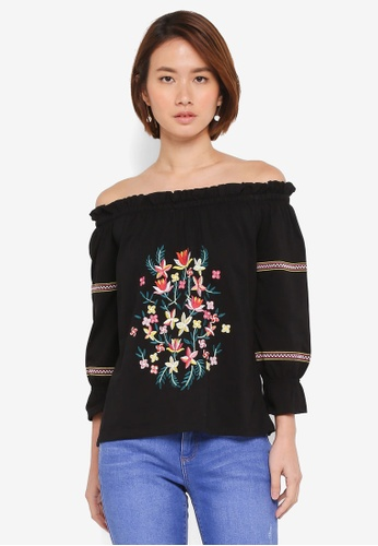 daa16c8a8e7682 Buy Dorothy Perkins Black Embroidered Bardot Top Online on ZALORA ...