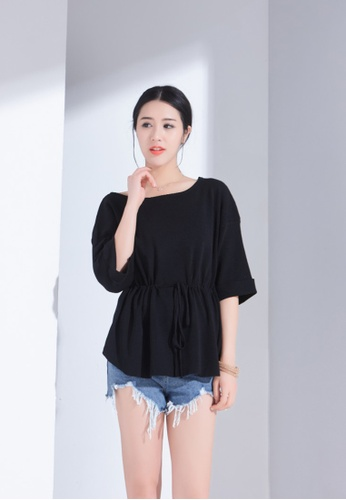 Zafiti black Round Neckline Relax Fit Slip On Blouse 35277AA8F7E1D2GS_1