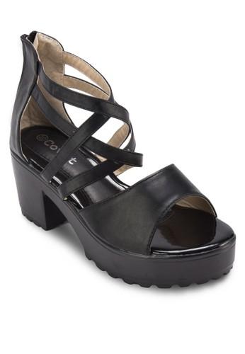 露趾多帶包跟粗跟涼鞋, 女esprit tsim sha tsui鞋, 細帶高跟鞋