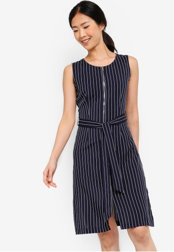 ZALORA BASICS navy Basic Zip-Up Dress With Waist Tie D01C2AABD02624GS_1