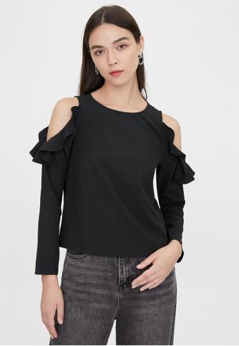 Pomelo black Cold Shoulder Ruffle Sleeve Blouse - Black F9615AAF5497D8GS_1