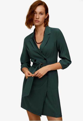 Mango green Buttoned Wrap Dress FE4E4AA98CD7C3GS_1